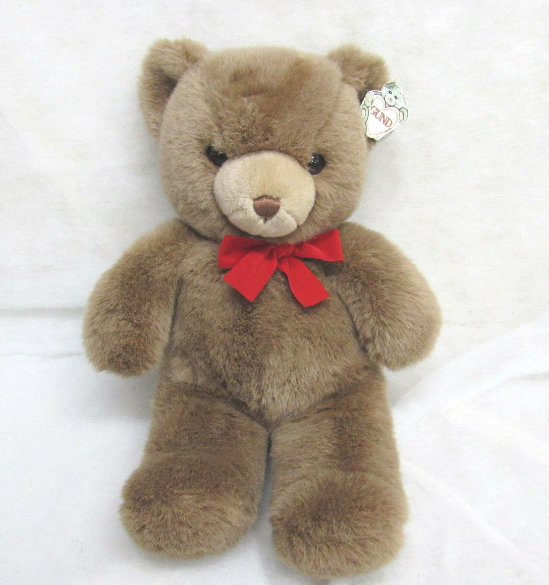 VTG LARGE GUND GUND BROWN TEDDY BEAR PLUSH RED BOW