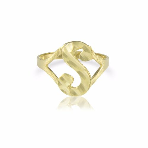 10K Solid Yellow Gold Initial Letter Ring A-Z Any Alphabet Cursive Band Women
