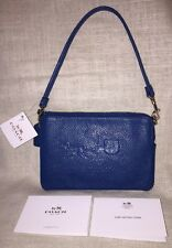 NWT COACH EMBOSSED HORSE AND CARRIAGE LIDEN LEATHER WRISTLET BAG 52500, DENIM