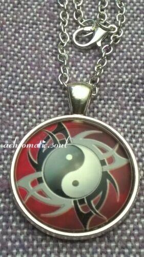 Tribal Yin Yang dualidad símbolo de Vidrio Collar Colgante Plata Color Domo