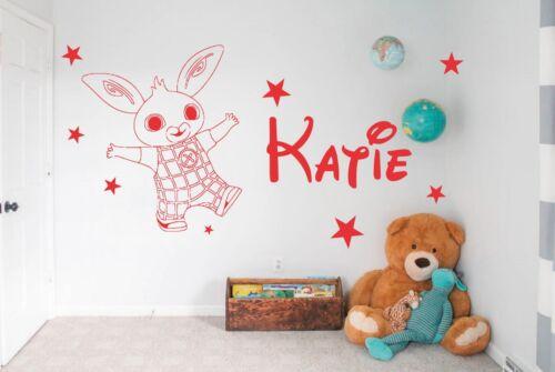 Personalised Bing bunny cbeebies Wall Vinyl Sticker Bedroom Kids Childrens room
