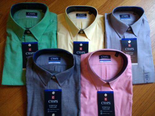 $50 Men/'s CHAPS Elite Performance Stretch Collar Regular Fit Dress Shirt NWT