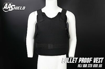 AA Shield Bullet Proof Vest Comfort Concealable Body Armor Lvl IIIA 3A L Black