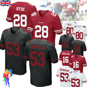 San Francisco 49ers Jersey HYDE RICE T-shirt  American Football Rugby Tops UK