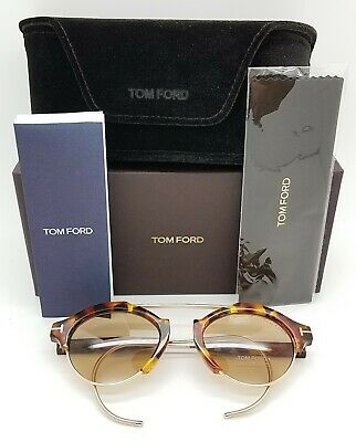New Tom Ford Farrah Oval sunglasses FT0631//S 55E 49mm Light Havana Brown GENUINE