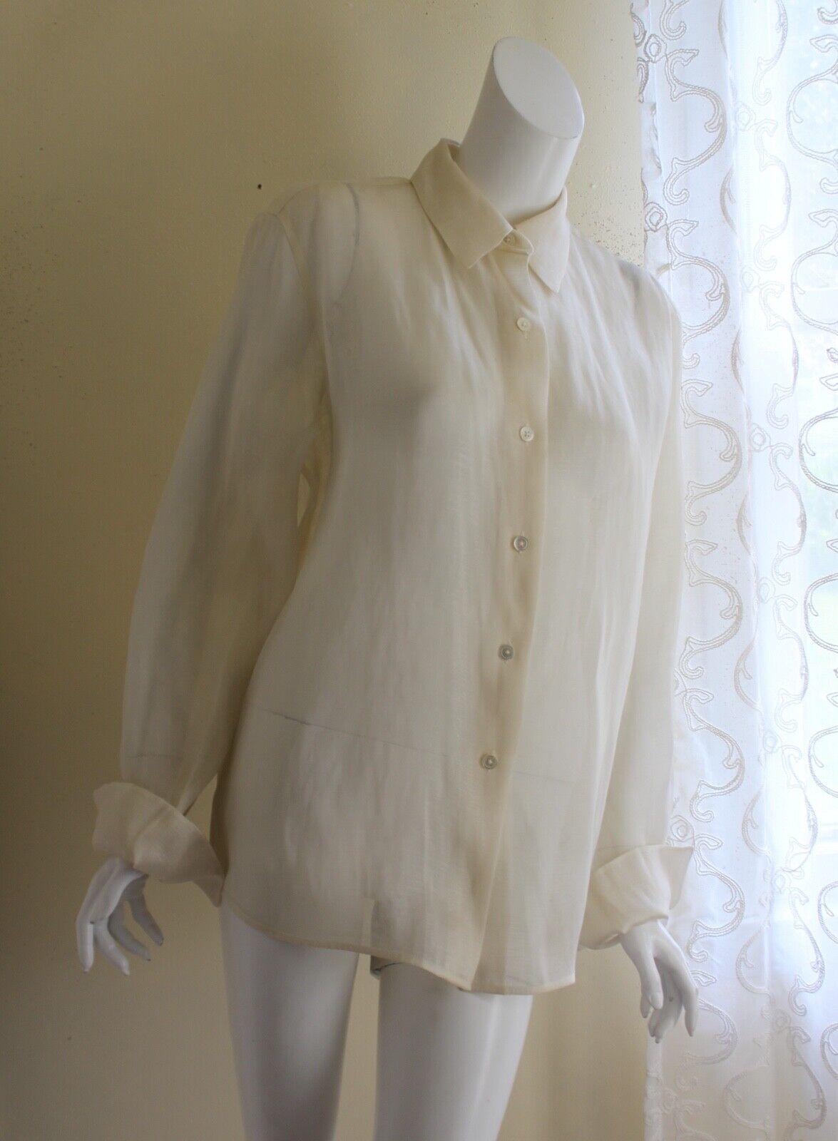 Ellen Tracy Sz 16 rico más exquisitas blancoo Metálico  Top Camisa azulsa De Seda  liquidación hasta el 70%