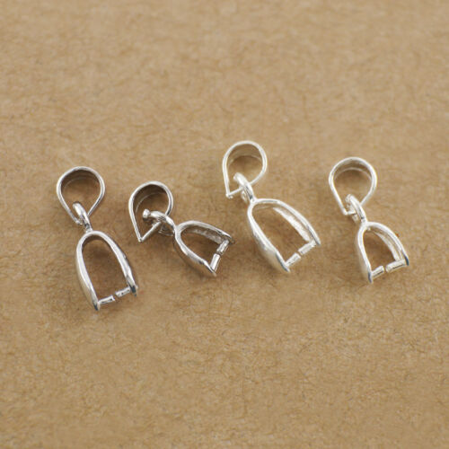 1PC 925 Sterling Silver Pendant Holder Clamp Pinch Clip Connector Bail DIY A2725