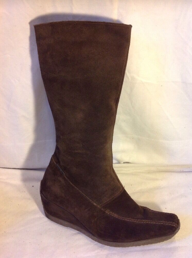 CJS Country Jack Studio Brown Mid Calf Suede Boots Size 40