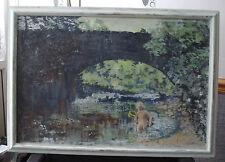 "Stunning Landscape Oil Paintings on board""Boy Under Bridge""Signed by Artist '89"