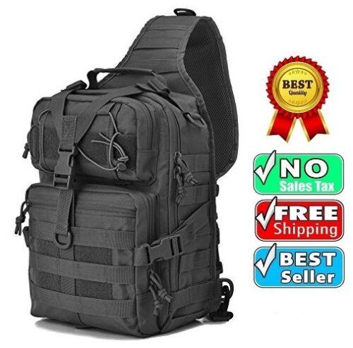Black Tactical Sling Range Bag Military Backpack Pack Rover Shoulder Sling Molle