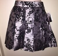 Joe Benbasset Juniors' Floral Flocked Pleated Skirt Silver/black Size 3 Tags
