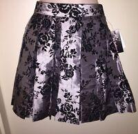 Joe Benbasset Juniors' Floral Flocked Pleated Skirt Silver/black Size 3 Tags