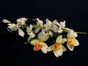 Vintage-Millinery-Flower-Collection-3-034-4-034-Orchid-White-Yellow-For-Hat-Hair-H1016