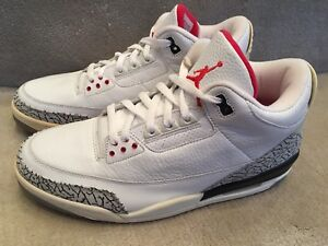 size 40 fdd26 e4384 Details about AIR JORDAN 3 RETRO 136064 102 WHITE CEMENT GREY RED 2003  EDITION SIZE 12 NWB