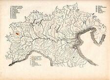 Carta geografica antica ITALIA del NORD VALICHI DELLE ALPI 1885 Old map