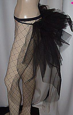 Burlesque Tail Short Bustle Train Black Dancers Bustle belt Goth Black or White