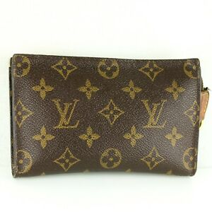 LOUIS-VUITTON-Mini-Pouch-for-BUCKET-PM-Purse-Monogram-Brown-JUNK