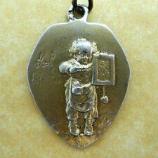 Antique Art Nouveau German 800 Silver Charm Pendant Child Stick Figure Drawing