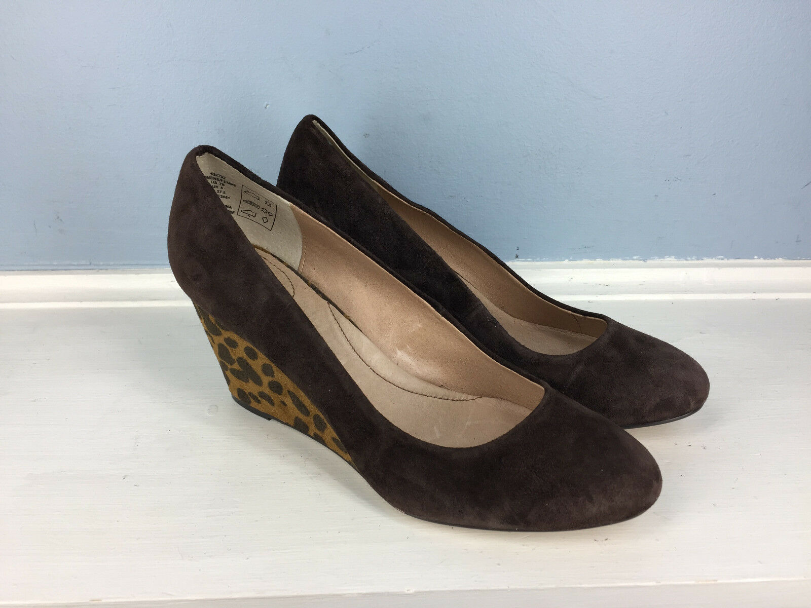 NEW Lands' End End End Brown Suede Leather Wedge Heel 7 Animal Print Career Cocktail  71ec98