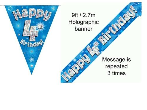 4th BIRTHDAY BLUE FOIL BANNERS AND BUNTING ****OFFER BOTH ITEMS FOR £2.99****