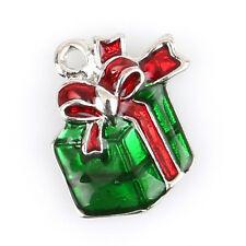 50pcs Red&Green Enamel Christmas Gift Box Charms Alloy Pendant Plated Rhodium D