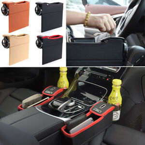 PU Car Seat Catcher Gap Filler Storage Box Cup Holder Coin Collector