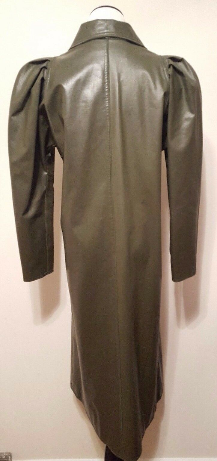 Mrs. H. Winter Winter Winter Yesterday's News Rain Coat Olive Green Ribbed Sz 6 Vintage 1970's ae5490