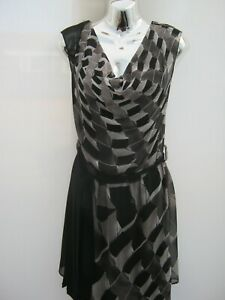 Warehouse-Cowl-Neck-Chiffon-Belted-Tunic-Knee-Length-Dress-Size-12