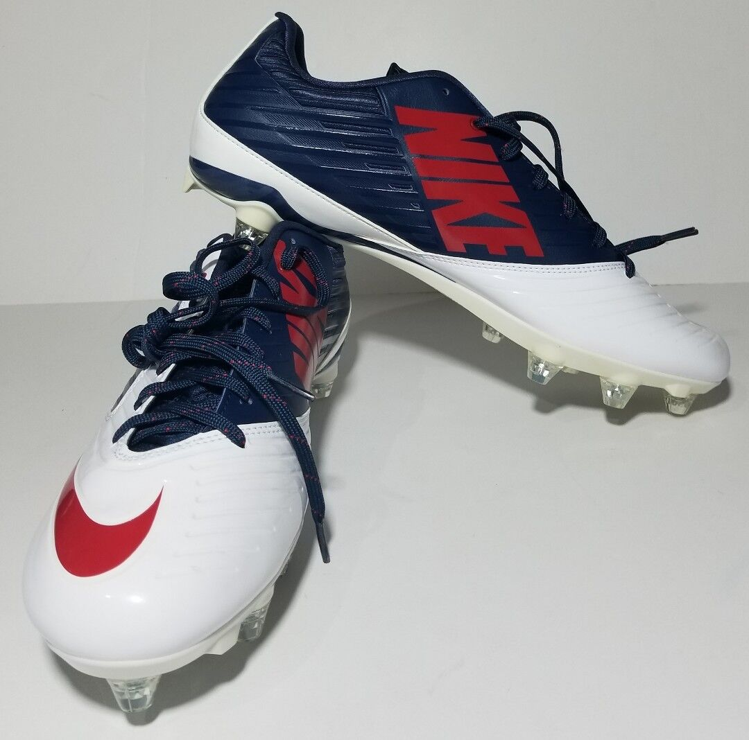 NEW NIKE VAPOR Speed Low TD Football Cleats BLYE WHITE  RED 668854-413 SZ 12.5