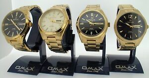 Omax-swiss-watch-gents-automatic-gold-plated-see-through-back-4-styles-UK-SELLER