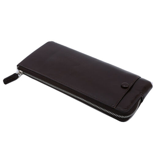 Men Long Wallet Leather Card Holder Clutch Purse Zipper Multicolor Pockets RU
