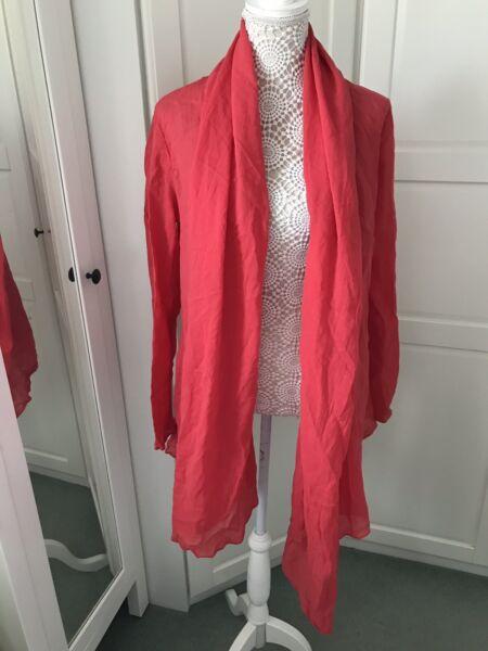 Zara Di Base, Cotone Leggero A Cascata Aperto Cardigan Scialle Lagenlook Taglia S Limpid In Sight