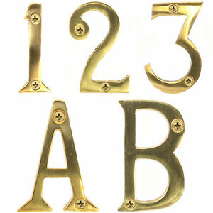 Image Is Loading SOLID BRASS 50mm 2 034 DOOR NUMBERS WITH