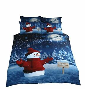 CHRISTMAS-SNOWMAN-GLITTER-TREES-BLUE-COTTON-BLEND-DOUBLE-DUVET-COVER