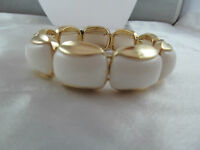 Monet Gold & White Beaded Statement Bracelet, Detailed, Shiny, Signed