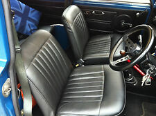 CLASSIC MINI COMPLETE SET OF FRONT AND REAR SEAT COVERS IN BLACK VINYL