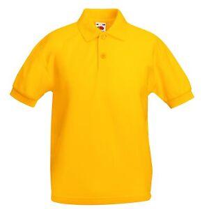 854236b1a023c Fruit Of The Loom Uni Enfants Uni Jaune Ecole Polo Aucun Logo