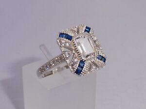 Damen-Halo-Design-925-Sterling-Silber-Blauer-und-weisser-Saphir-Ring
