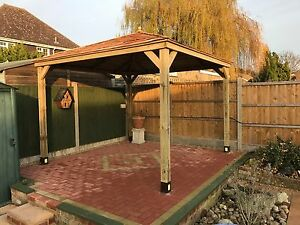 4m wooden gazebo hottub shelter with cedar roof hand for Hot tub shelters