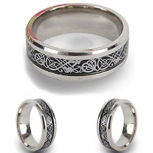 Silver-Stainless-Steel-Celtic-New-Mens-Wedding-Ring-Womens-Band-Sizes-J-to-Z-3