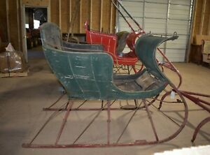 Details About Antique Horse Drawn Green Portland Cutter Sleigh With Shafts