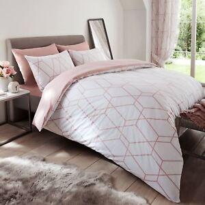 Fard-Rose-Metro-Geometrique-Diamant-Housse-Couette-Simple-amp-Set-Taie-D-039-Oreiller