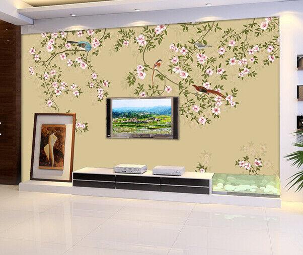 3D Bird Flower Tree 7 Wall Paper Murals Wall Print Wall Wallpaper Mural AU Lemon