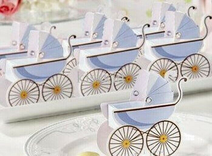 Pram Baby Shower Shower Shower Favour Boxes with Expandable Bonnets Blau Baby Boy f24ff1