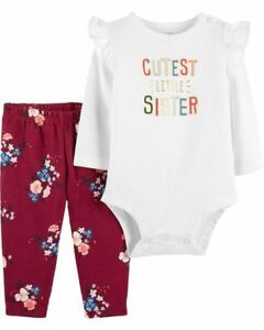 New Carter/'s Girls 3 Piece Turn Around Happy Crab Bodysuits Pants Set NB 3m 6m