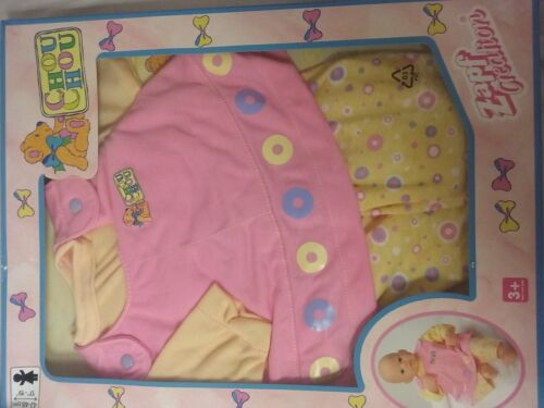 ZAPF CREATION CHOU CHOU 2 PC SET YELLOW AND PINK CIRCLES NEW
