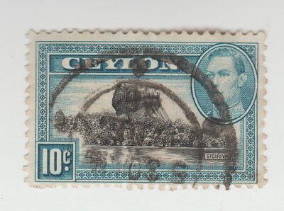 10 Cents Ceylon Sigiriya - Seltene Antike Briefmarke Gestempelt - 0436
