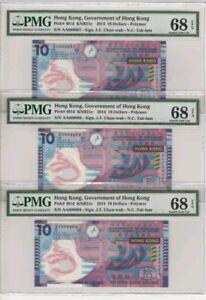 2014-HONG-KONG-10-PMG68-EPQ-Consecutive-3-Notes-lt-P-401d-gt-First-Prefix-AA
