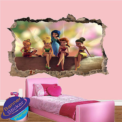 Little Fairies On Log 3d Smashed Wall Sticker Girls Room Decoration Decal Mural Ebay