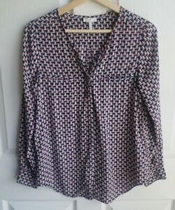 Joie-Womens-Silk-Navy-Blue-Red-Osana-Sailboat-Button-Down-Blouse-Top-Size-XS